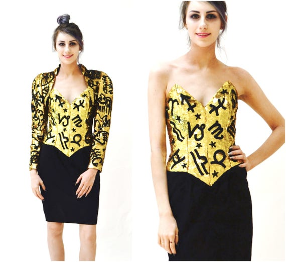 90s Gold Sequin Black Leather Dress by Michael Hob