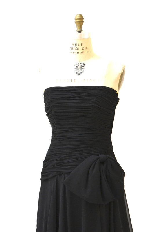 80s 90s Black Strapless Dress Evening Gown Size S… - image 9