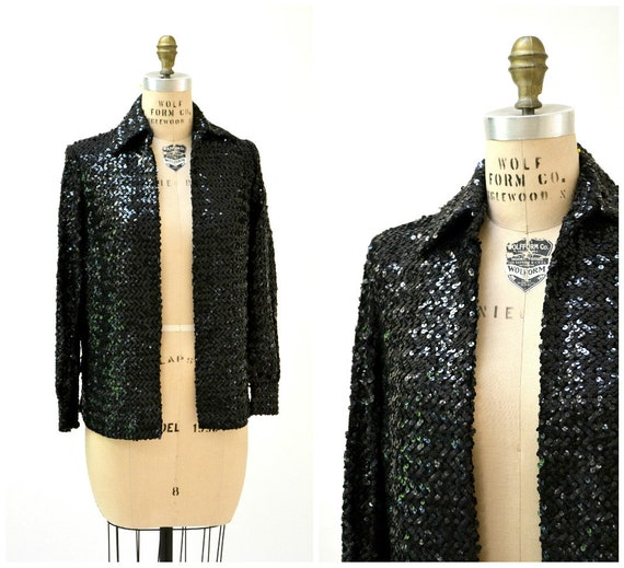 f6fbf32874d Vintage Sequin Jacket Black SIze Small Medium    70s Vintage