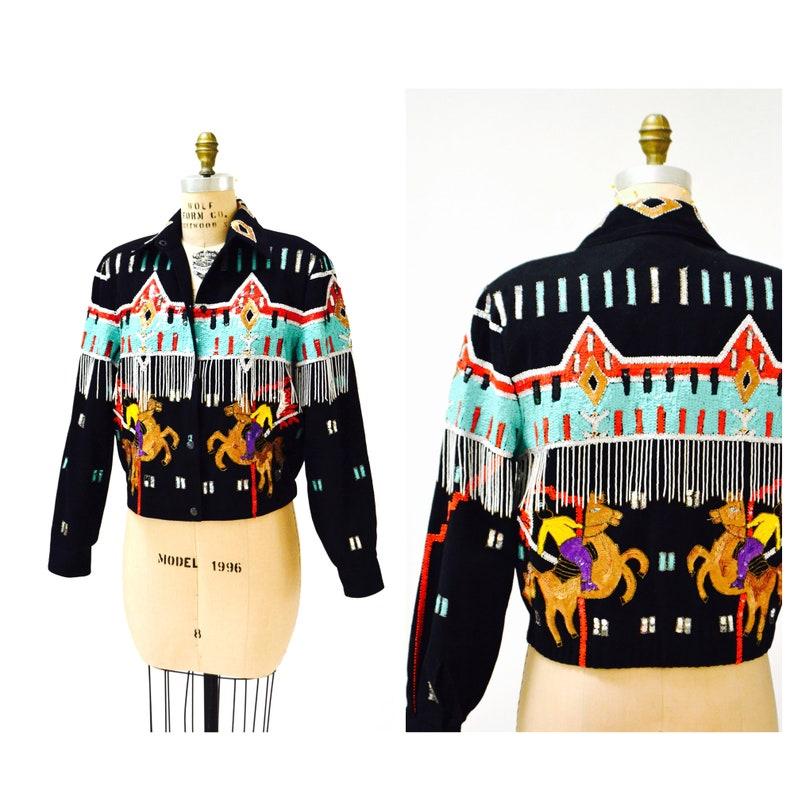 cd7791ccd Vintage Sequin Jacket with Horse Rodeo Cowboy Native American Jacket Modi  Denim// Vintage Black Sequin Beaded Fringe Jacket Small Medium