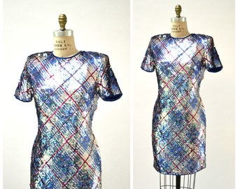 Vintage Sequin Dress Silver Blue Metallic Medium Large Plaid Sequin Dress Trophy Wife Body Con Open Back