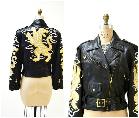 Vintage Black Leather Motorcycle Jacket by North B