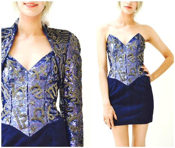90s Sequin Leather Strapless Dress by Michael Hoba