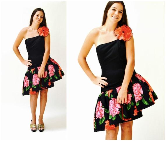 80s Vintage Black Dress Floral Print 80s Prom Dres