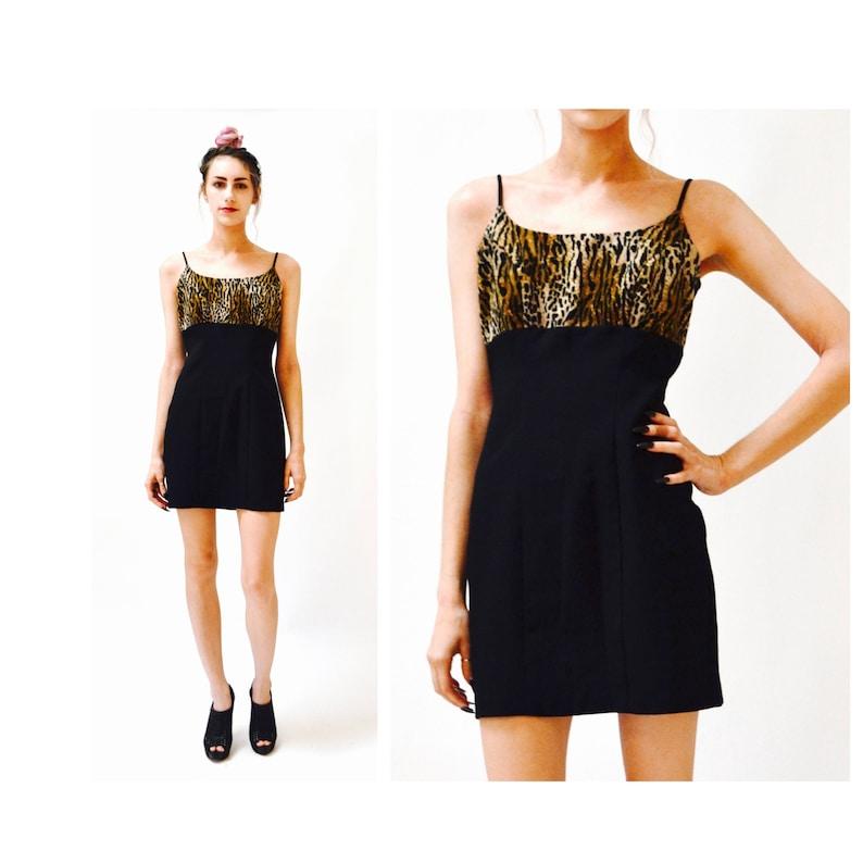105801d99131 90s Vintage black Tank Dress Animal Print Dress Mini Dress | Etsy
