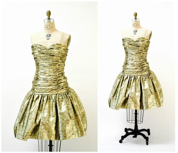 Vintage Metallic 80s Prom Dress Gold By Victor Cos