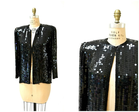 Vintage Black Sequin Jacket Small Medium// Black S