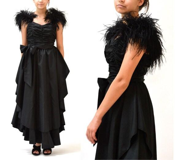 80er Jahre Vintage schwarzes-Partei-Kleid mit Federn Boa Ärmel | Etsy