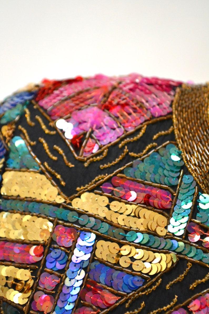Vintage Sequin Jacket Metallic Black Gold Art Deco Trophy Jacket Small Medium Stain Glass Window GOld Black Sequin Jacket Laurence Kazar