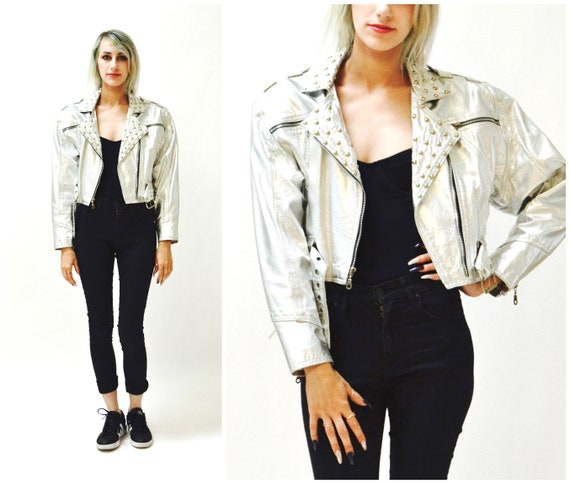 Vintage Silver Metallic Leather Biker Jacket Silve