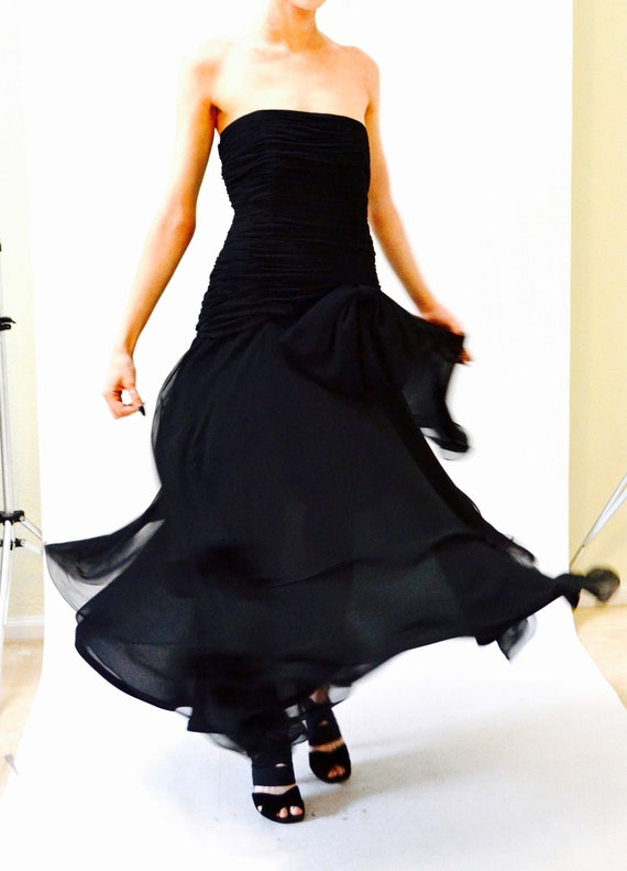 80s 90s Black Strapless Dress Evening Gown Size S… - image 4