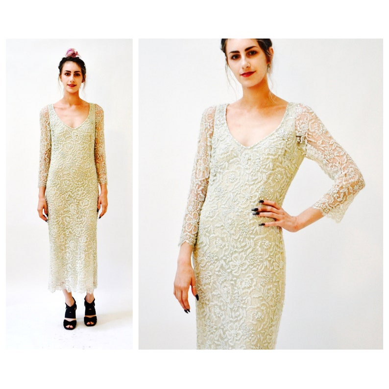 5534d0550e9e0 Vintage Cream Lace Sequin Beaded Gown Dress Size Small Medium | Etsy