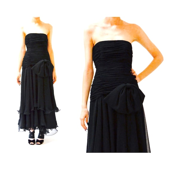 80s 90s Black Strapless Dress Evening Gown Size S… - image 2