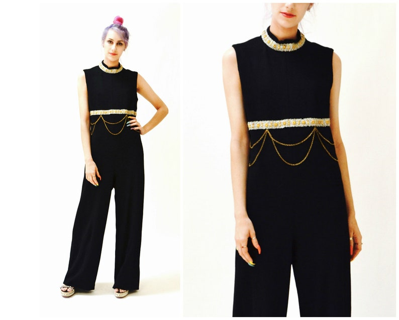 94bbd3160510 70s Vintage Black Jumpsuit Medium Large Metallic Gold Knit By