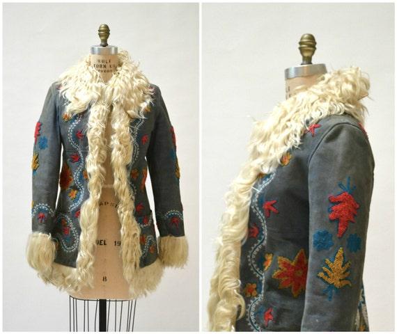 Vintage Embroidered Shearling Afghan Jacket Coat x