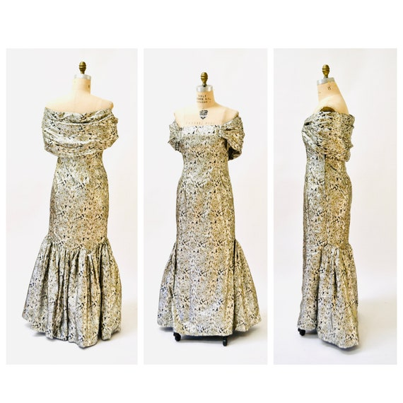 Vintage Metallic Evening Gown By Victor Costa Gold