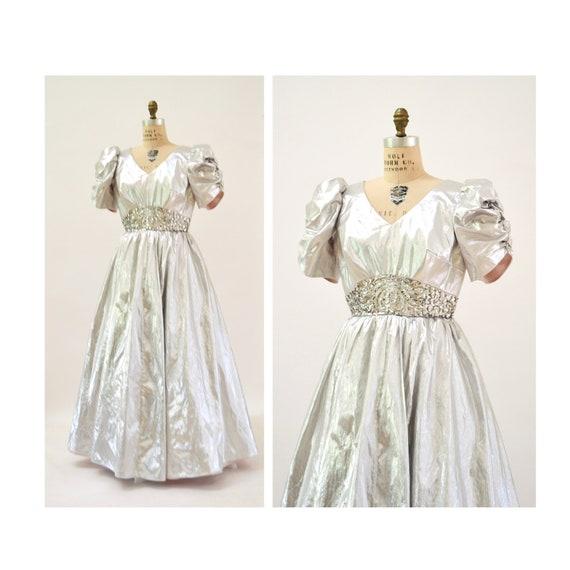 Vintage 80s Prom Dress Silver Sequin Dress Evening