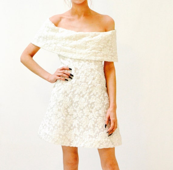 Vintage SCAASI Boutique White Floral Embroidered … - image 7