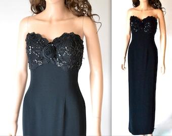 Vintage Black Evening Gown// Black Strapless Sequin Dress By Bizar// 90s Vintage Black Beaded Dress Size Medium