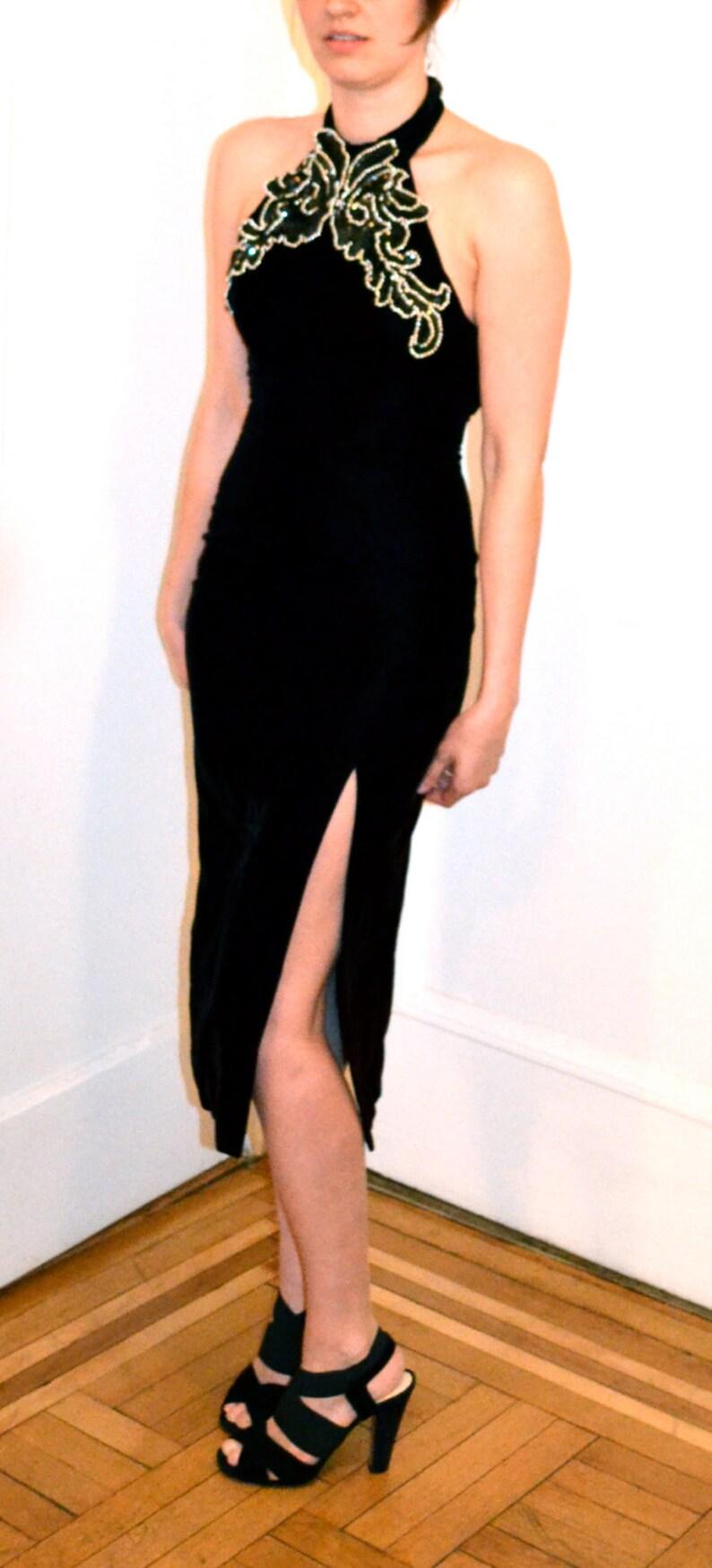 90s Prom Dress in Black Velvet Dress XS  Vintage Evening Gown Black Velvet with Halter Top XS