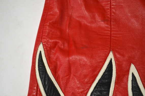 90s Vintage RED Leather Shorts by Michael Hoban N… - image 6