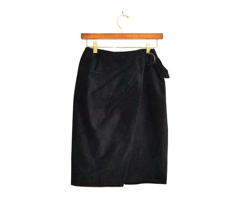 4ca2cd8b0a 90s Vintage Suede Leather Skirt Black// Vintage Black Suede | Etsy