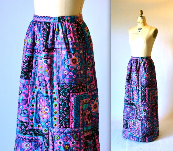 70s Vintage Boho Printed Skirt Quilted Long Maxi S