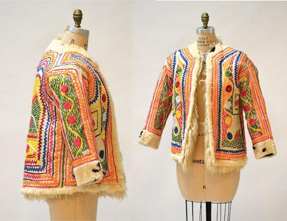 SALE Vintage Embroidered Shearling Afghan Jacket C