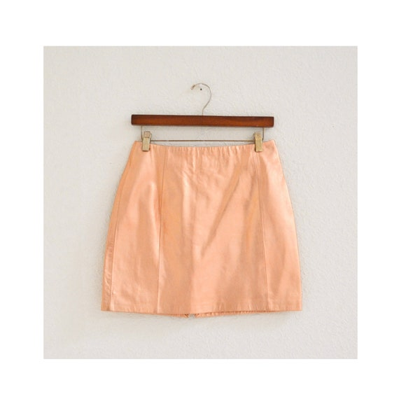 90s Vintage Gold Leather Skirt Metallic ROSE Gold