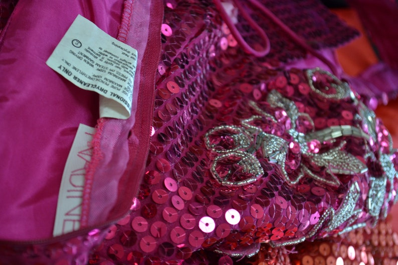 80s 90s Vintage Pink Sequin Dress Prom Dress xs Small 80s Metallic pink Sequin Dress Nadine XS Small 80s Barbie Pageant Drag Dress