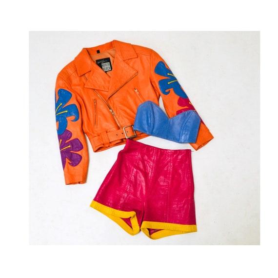 Vintage Pink Leather Shorts Hot Pants Leather Sho… - image 1