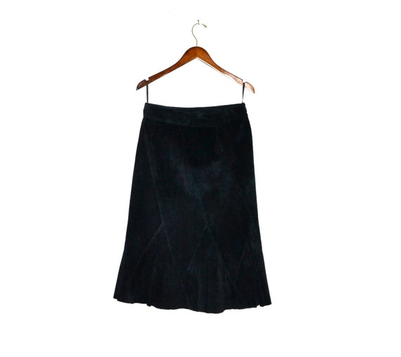 Vintage Black Suede Leather Skirt Midi Black Suede