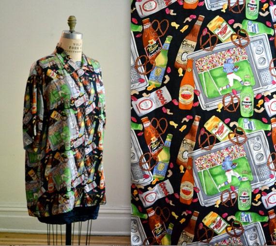 90s Vintage Football Shirt Print Nicole Miller Sil