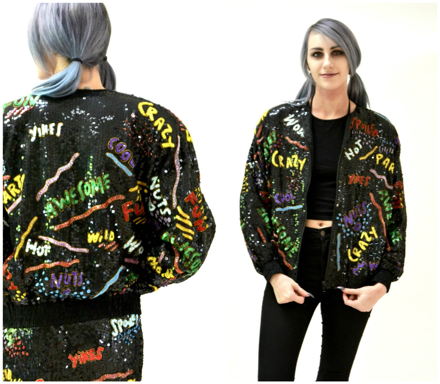 d1dd7262a Vintage Black Sequin Jacket with Words 90s pop art// Vintage Black Sequin  Jacket Bomber Jacket Awesome Party Fun Jacket By Modi Sequin
