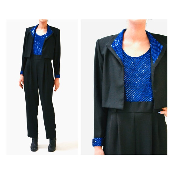 Vintage Blue Black Metallic Jump Suit Pantsuit and