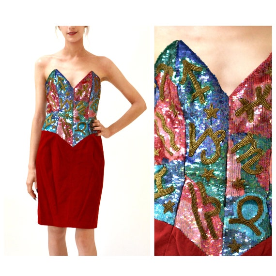 90s Sequin Leather Dress by Michael Hoban Straples