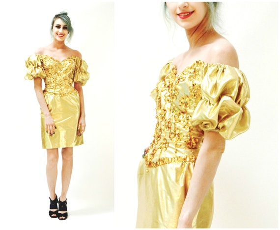Metallic 80s Prom Dress Gold Size XXS XS by Mike B