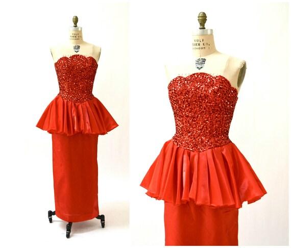 80er Party-Kleid Pailletten Abendkleid in rot Medium / / 80er