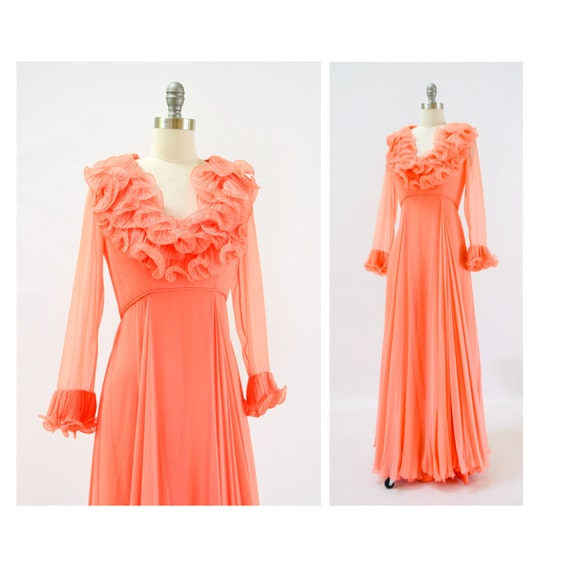 70s Alfred Bosand Vintage Peach Ruffle Dress Long