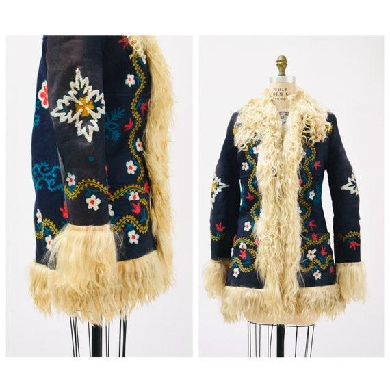 Vintage Embroidered Shearling Afghan Jacket Coat B