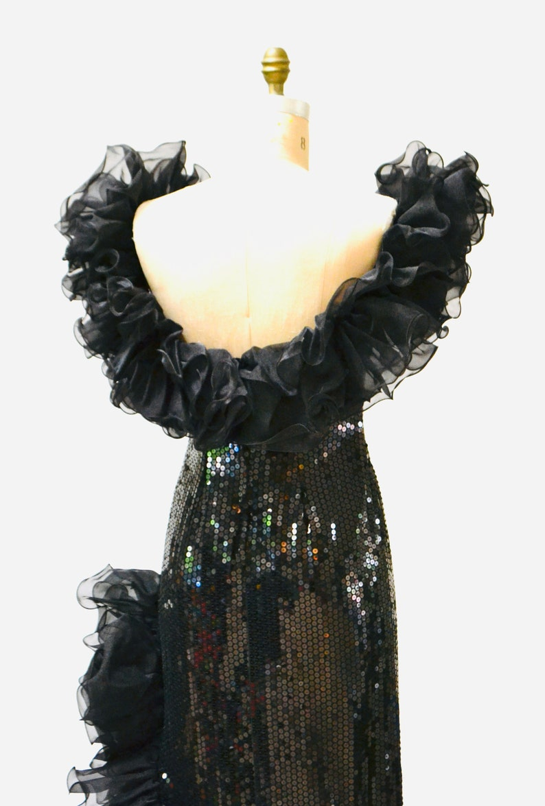 80s Vintage Black Sequin Dress Evening Gown Ruffles Size Medium Large 80s 90s Glam Black Sequin Pageant Prom Dress Gown By Alyce Design