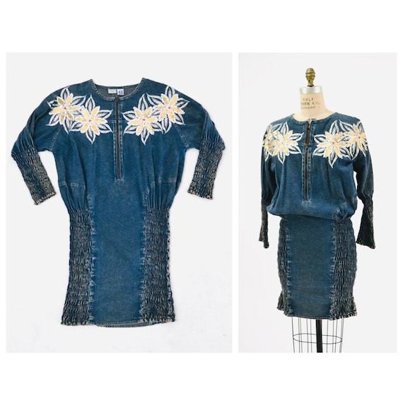80s Vintage Denim Dress Acid Wash Metallic Sequins