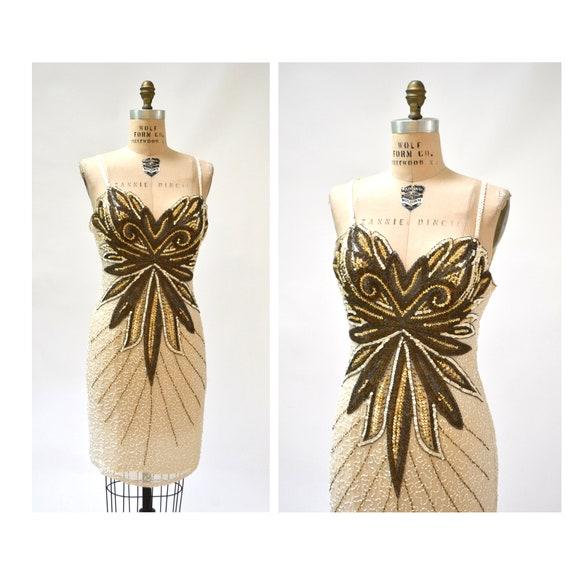 Vintage White Beaded Dress XL Large Metallic Gold