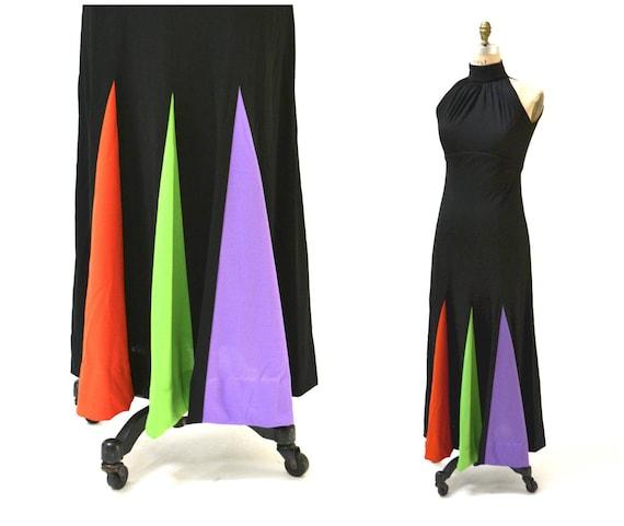 70s Vintage Black Maxi Dress Small // Vintage Bla… - image 2
