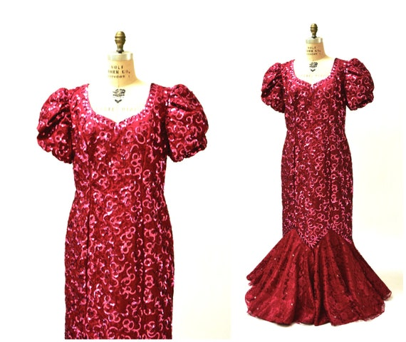 80s Prom Dress Pink Sequins Size Large XL Plus Size// Vintage