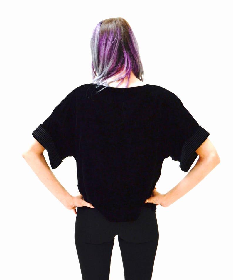 80s Black oversized Velvet Shirt Blouse Size Small by Bis  80s 90s Vintage Black Velvet Shirt Small Medium Rayon
