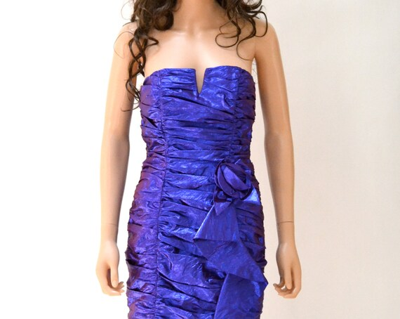 Vintage 80s Prom Dress Size XS Small Strapless Met