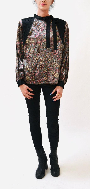 80s Vintage Paisley Print Silk Shirt Blouse Mediu… - image 3