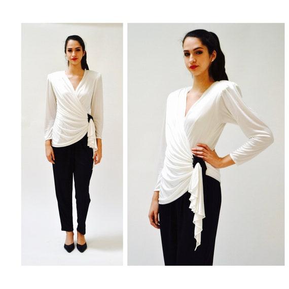 80s Vintage Jump Suit Black and White Medium Sequi