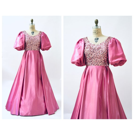 80s Prom Dress Pink Sequin Dress Gown Small Medium